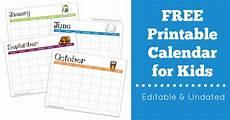 Printable Editable Calendars Free Printable Calendar For Kids Editable Amp Undated My