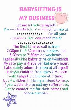 How To Write An Ad For Babysitting This Is An Example Of A Flyer But Add Your Name And Age