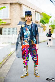 japanese fashion student in colorful graphic style w
