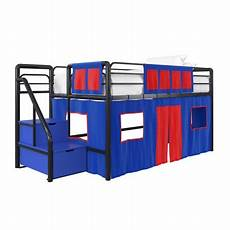 dhp junior black loft bed with blue storage steps and blue