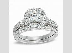 2 CT. T.W. Princess Cut Diamond Frame Bridal Set in 14K