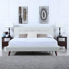mid century ivory linen low profile platform bed frame