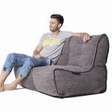 2 seater gery sofa designer bean bag grey fabric