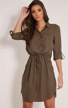 madalie khaki tie waist shirt dress dresses