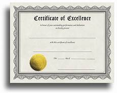 Certificates And Awards Excellence Award Certificate With Gold Foil Seal
