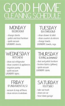 Cleaning House Schedule Chart Cleaning Schedule Do It And How