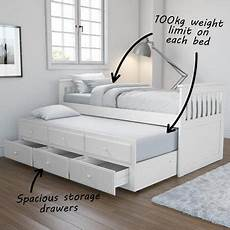 oxford captains guest bed with storage in white