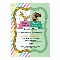 Birthday Invi Unicorn Amp Dinosaur Joint Boy Girl Birthday Invites