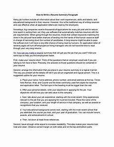 How To Write A Job Summary For A Resume How To Write A Resume Summary Paragraph By Acadsoc Issuu
