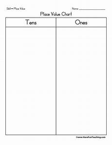 Hundreds Tens And Ones Chart Printable Place Value Chart Tens Ones Have Fun Teaching