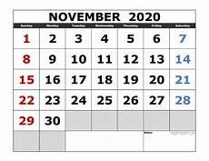 November 2020 Calendar Printable Free November 2020 Printable Calendar Template Excel Pdf