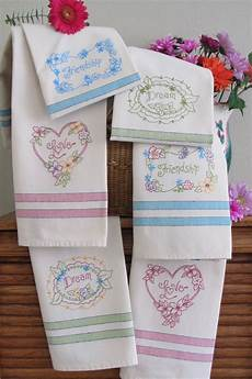 Christmas Tea Towel Embroidery Designs Pretty Flowers Hand Embroided On Bright Tea Towels