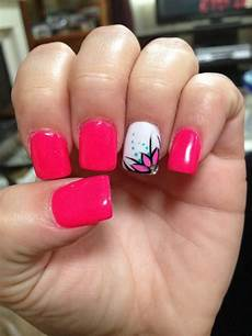 Acrylic Nails With Flower Design Pink Flower Nails Google Search Nails Pinterest