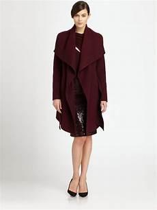 donna karan coats for lyst donna karan draped coat in