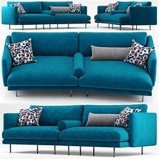 Blue Sofa 3d Image by Pillow Mies Two Seater Sofa Blue Calligaris 3d Cgtrader