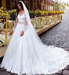 crystal elegant lace princess long sleeve wedding dresses