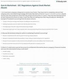Stock Market Worksheet Quiz Amp Worksheet Sec Regulations Against Stock Market