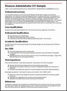 Finance Assistant Cv Sample Finance Administrator Cv Sample Myperfectcv