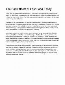Argumentative Essay Fast Food Essay Of Fast Food Restaurant