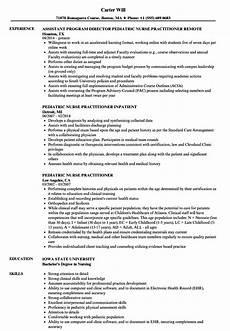 Pediatric Nursing Resume Pediatric Nurse Practitioner Resume Samples Velvet Jobs