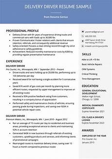 Resume Sample For Driver Delivery Driver Resume Example Amp Writing Tips Resume Genius