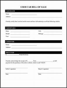Free Printable Bill Of Sale For Car Free Printable Car Bill Of Sale Form Generic