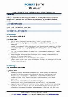 Resume Format Hotel Management Hotel Manager Resume Samples Qwikresume