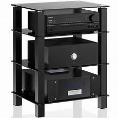 4 tier media component stand audio cabinet with glass