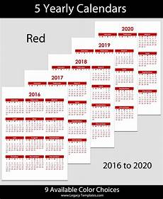2020 16 Year Calendar 2016 To 2020 Yearly Calendar A4 Legacy Templates