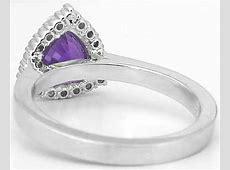 Trillion Cut Amethyst and Diamond Halo Engagement Ring