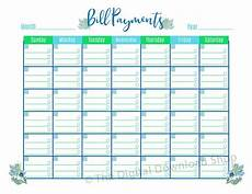 Template For Bills Bill Payments Calendar Printable Floral The Digital