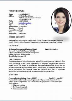 Format Of A Standard Cv Standard Curriculum Vitae Resume