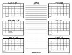 6 Month Calendar On One Page 6 Month Calendar 2016