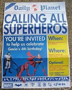 Printable Superhero Invitations Superhero Newspaper Birthday Invitation The Scrap Shoppe