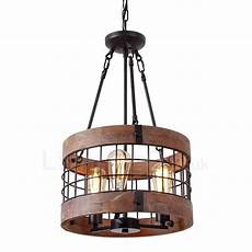 3 light drum vintage wooden chandelier industrial wind bar