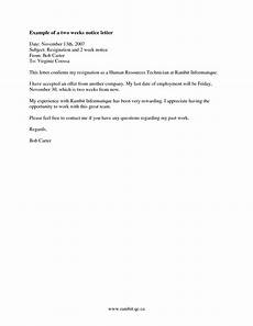 2 Week Notice Letter Examples How To Find Examples Of Two Week Notice Resignation