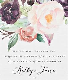 Watercolor Wedding Cards New York City Inspired Floral Watercolor Wedding Invitations