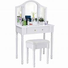 songmics chic 3 foldable mirrors dressing table set with