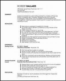 Softball Coach Resume Free Entry Level Sports Coach Resume Template Resume Now