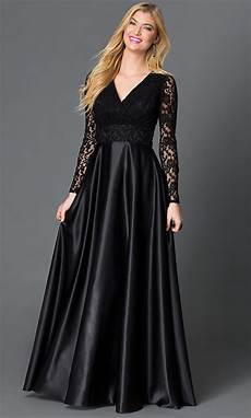 sleeve homecoming dresses v neck black floor length sleeve dress with lace