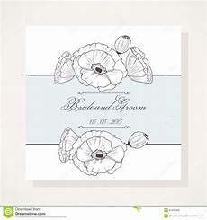 Invitation Outlines Wedding Invitation With Outline Poppies Stock Vector