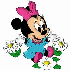 baby minnie mouse with pink bow and flowers minnie mouse