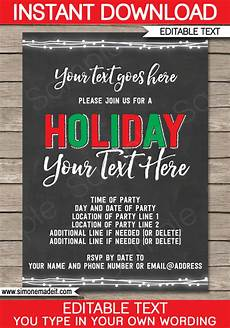 Holiday Party Invitations Template Printable Holiday Party Invitations Editable Holiday