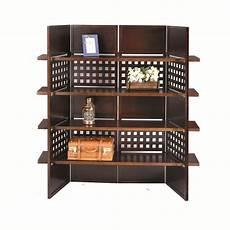 shop 4 panel book shelves walnut finish room divider
