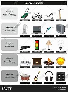 Light Energy To Electrical Energy Examples Energy Examples Infographic Diagram Image Amp Photo Bigstock