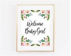 Welcome Baby Girl Welcome Baby Girl Printable Baby Shower Sign 8x10 Blush Pink