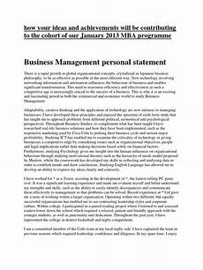 Management Personal Statement Business Management Personal Statement Creativity
