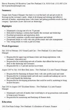 Auto Dealership Sales Manager Resume Professional Auto Finance Manager Templates To Showcase