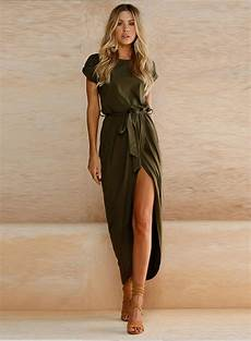 solid sleeve gown dresses sleeve high slit solid maxi dress with belt