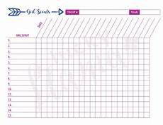 Attendance Sheets Printable Printable Girl Scout Attendance Sheet Etsy